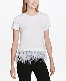 Calvin Klein Crew-Neck Feather-Trim Top