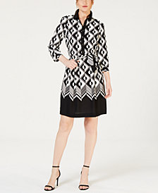 Anne Klein Roulette-Print Pleated Dress