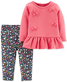 Carter's Baby Girls 2-Pc. Bow Top & Floral Leggings Set