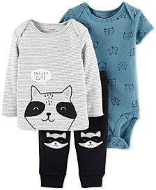 Carter's Baby Boys 3-Pc. Sneaky Cute Raccoon Cotton Top, Bodysuit & Pants Set