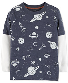 Carter's Baby Boys Space-Print Layered-Look Cotton T-Shirt