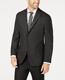 Michael Kors Men's Classic-Fit Charcoal/Purple Plaid Sport Coat