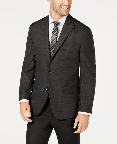 05ecd86be ... Michael Kors Men's Classic-Fit Charcoal/Purple Plaid Sport Coat ...