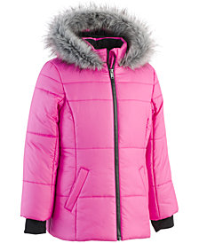 Calvin Klein Little Girls Hooded Puffer Jacket with Faux-Fur Trim