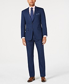 Men's Slim-Fit Stretch Medium Blue Tonal Plaid Suit
