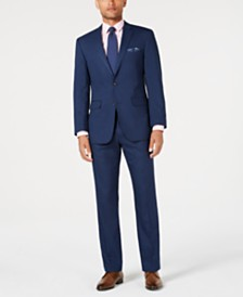 Perry Ellis Men's Slim-Fit Stretch Medium Blue Tonal Plaid Suit