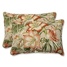 Botanical Glow Tiger Stripe Over-sized Rectangular Throw Pillow, Set of 2