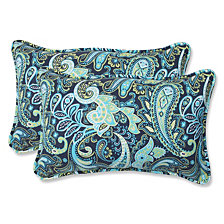 Pretty Paisley Navy Rectangular Throw Pillow, Set of 2