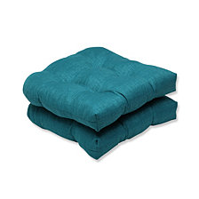 Rave Teal Wicker Seat Cushion, Set of 2