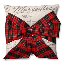 "Holiday Plaid Bowknot 16.5"" Throw Pillow"