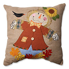 "Harvest Scarecrow Burlap 16.5"" Throw Pillow"