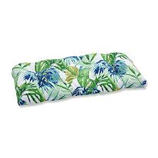 Soleil Blue/Green Wicker Loveseat Cushion