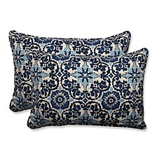 Woodblock Prism Blue Over-sized Rectangular Throw Pillow, Set of 2