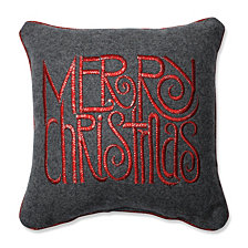 "Merry Christmas Words Grey-Red 11.5"" Throw Pillow"
