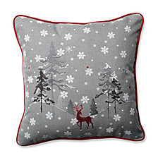"Red The Reindeer Grey 16.5"" Throw Pillow"