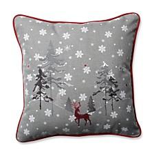 "Red The Reindeer Grey 16.5"" Throw Pillow"