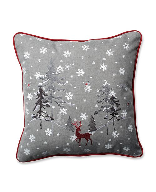 "Pillow Perfect Red The Reindeer Grey 16.5"" Throw Pillow"