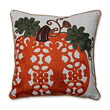 "Fancy Embroidered Pumpkin Orange 16"" Throw Pillow"