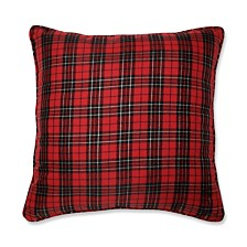 "Holiday Plaid Red 20"" Throw Pillow"