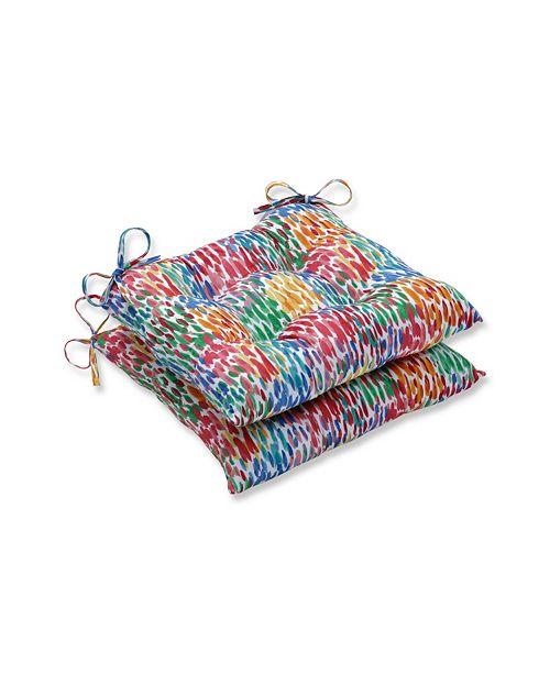 Pillow Perfect Make It Rain Zinnia Wrought Iron Seat Cushion, Set of 2
