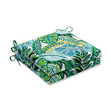Aruba Jungle Green Squared Corners Seat Cushion, Set of 2