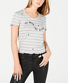 Rebellious One Juniors' Go With The Flow Striped Graphic T-Shirt