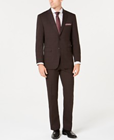 Perry Ellis Men's Slim-Fit Stretch Brown Plaid Suit
