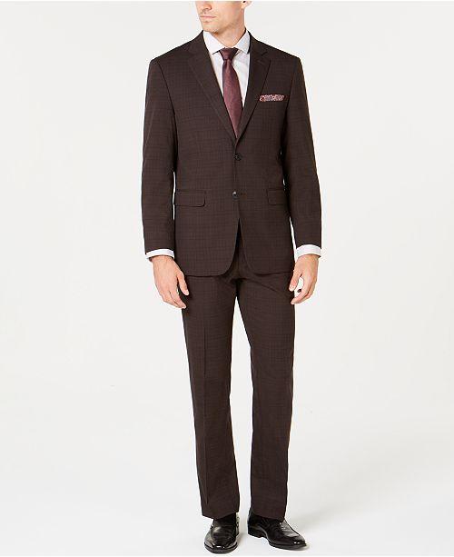 Perry Ellis Men's Slim-Fit Stretch Brown Plaid Suit