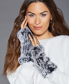 The Fur Vault Fingerless Rabbit Fur Gloves