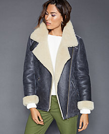 The Fur Vault Shearling Lamb Moto Jacket
