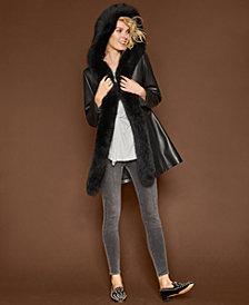 The Fur Vault Leather Fur-Trim Coat