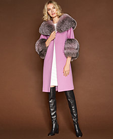 The Fur Vault Fox-Trim Walker Coat