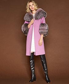 The Fur Vault Fox-Trim Walker Coat