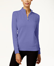 Karen Scott Cotton Zip-Up Sweater, Created for Macy's