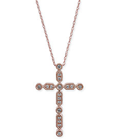 "Diamond Cross 18"" Pendant Necklace (1/6 ct. t.w.) in 14k Rose Gold"