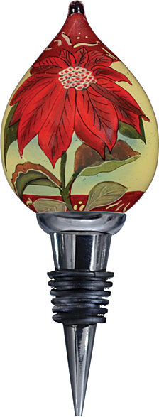 Ne Qwa Art Hand-Painted Blown Glass Poinsettia Wine Stopper
