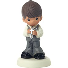 May His Light Shine Brunette Boy First Communion Figurine