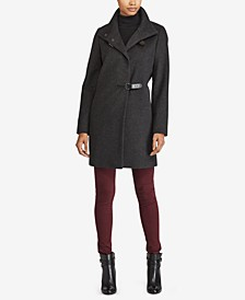 Petite Buckle-Front Walker Coat, Created for Macy's