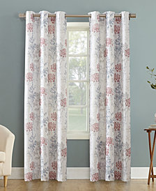 "CLOSEOUT! Lichtenberg No. 918 Simone Floral Print Casual Textured Grommet Curtain Panel, 48"" W x 95"" L"
