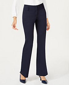 Alfani Petite Tummy-Control Faux-Leather-Trim Pants, Created for Macy's
