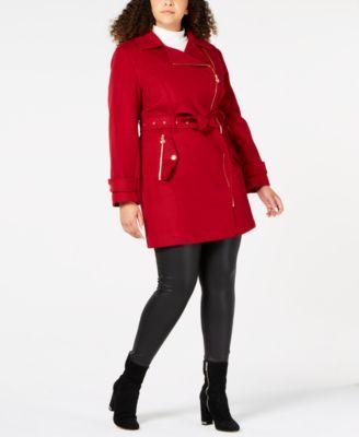 Plus Size Asymmetrical Belted Coat