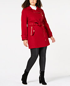 MICHAEL Michael Kors Plus Size Asymmetrical Belted Coat