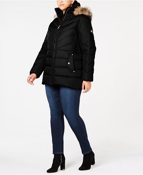 9cca28ad2be Michael Kors Plus Size Faux-Fur-Trim Puffer Coat & Reviews - Coats ...