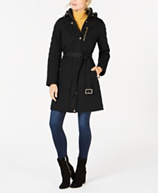 Michael Michael Kors Petite Hooded Quilted Coat, Created for Macy's