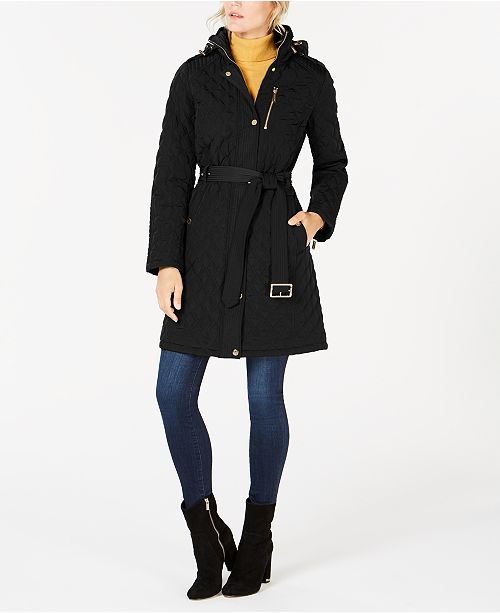 Michael Kors Petite Hooded Quilted Coat, Created for Macy's