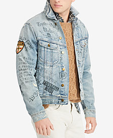 Polo Ralph Lauren Men's Distressed & Printed Denim Trucker Jacket