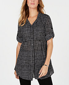 Style & Co Petite Checkered Roll-Tab-Sleeve Shirt, Created for Macy's