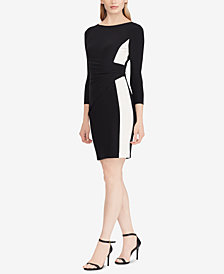Lauren Ralph Lauren Petite Shirred Two-Tone Jersey Dress