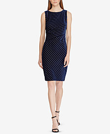 Lauren Ralph Lauren Petite Shadow-Stripe Velvet Dress