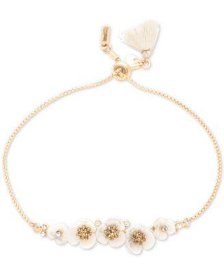 Gold-Tone Crystal & Imitation Mother-of-Pearl Flower Slider Bracelet